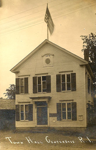 The first North Providence Town Hall built in 1879 on Mineral Spring Ave.