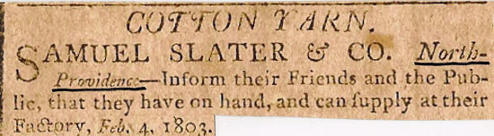 Slater Mill 1803 newspaper advertisement showing that it was located in North Providence