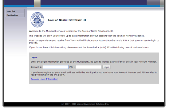 Login to North Providence RI Tax Database at www.riegov.com