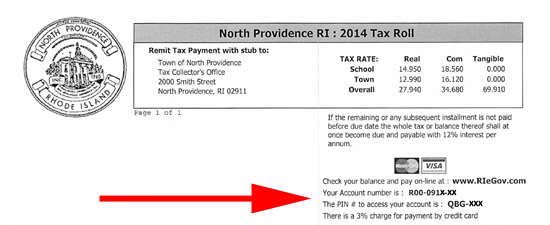 Find you account number and PIN on your tax bill