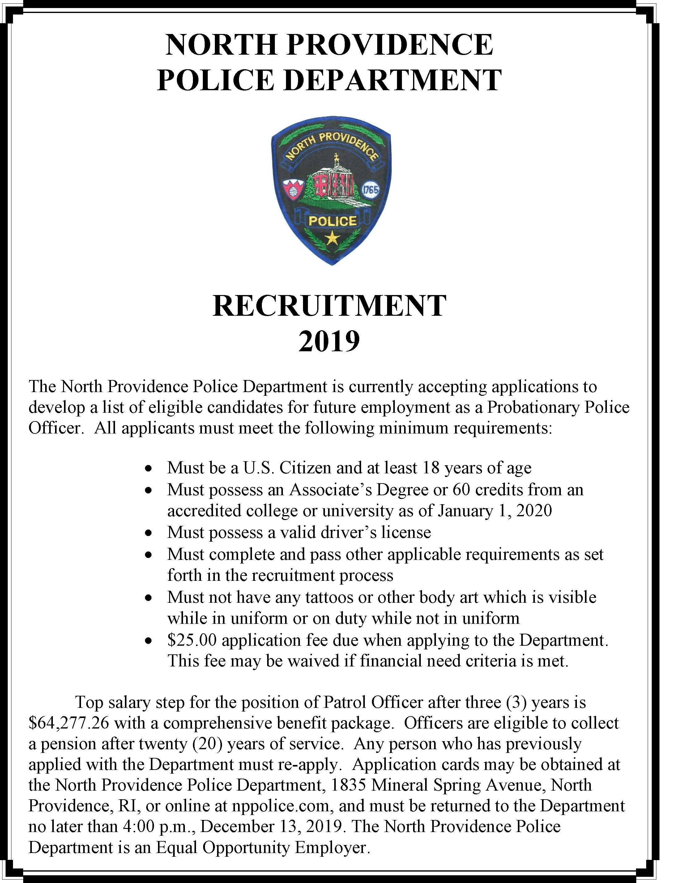 North Providence Police Department's 2019 Recruitment Drive Begins Monday, November 4th