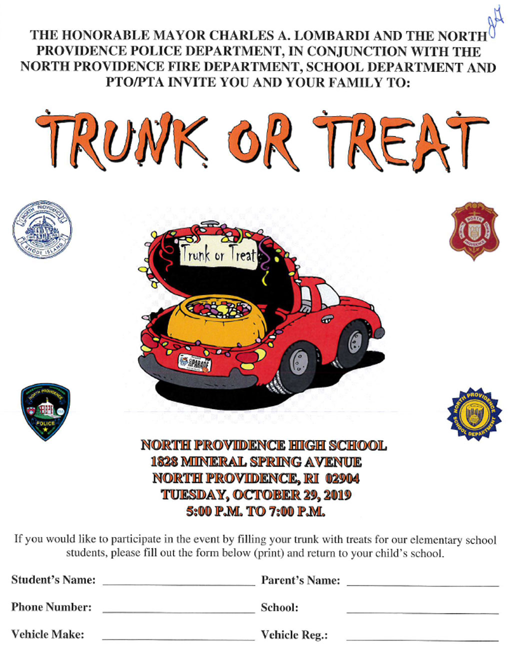Trunk or Treat - Tuesday, October 29th at NPHS